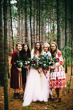 bohemian bridesmaids, photo by Alyssa McElheny Photography http://ruffledblog.com/bohemian-luxe-wedding-inspiration #weddingideas #bridesmaidsdresses