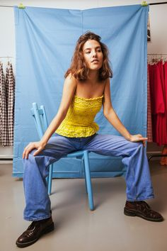 Studio Onyva bandana Celeste top in sunshine yellow paisley Bandana Top, Going Out Tops, Liberty Print, Dusty Blue, New Trends, Gingham, Bell Bottom Jeans, Paisley, Studio