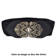 Women's Fashion Vintage Wide Elastic Stretch Waist Belt Waistband (Black)
