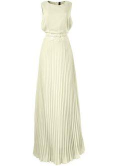 Jetzt anschauen: Dieses traumhafte Kleid strahlt pure Weiblichkeit aus und überzeugt mit hübschen Details.Das ärmellose Kleid mit hohem Rundhalsausschnitt ist in der Taille mit romantischer Spitze geschmückt. Das plissierte Rockteil fällt ab der Taille locker bis zum Boden herab und umspielt die weibliche Figur. Seitlich lässt sich dieses wunderschöne Modell mit einem Reißverschluss schließen.