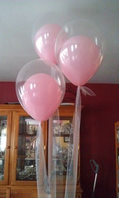 Use ribbon instead of string, & drop some glitter in those balloons!  Bridal shower  :D