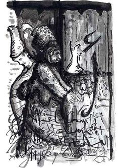 Alef´s Ritual#Ink and toner wash on paper#Bilal Dadou#drawing#esoteric#psicology#berber#mystic#tipography#berber#northafrican#archtyp