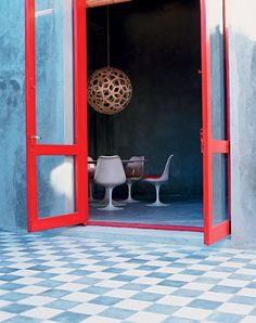 Simply Red: A Vacation House in Uruguay - Remodelista Decor, Interior Decorating, Red Door, Interior, Interior Inspiration, Home, House Interior, Interior Design, Checkered Floors