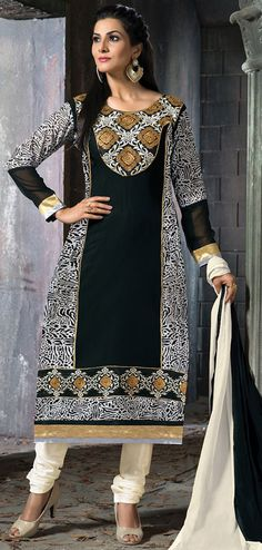 USD 35.16 Black Faux Georgette Long Churidar Suit 42666