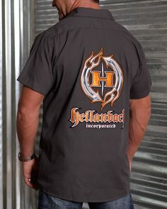 Hellanbach Patched Industrial Mechanic Work Shirts feature three patented state-of-the-art patches w/highly dimensional graphics. Mens Work Shirts, Mens Tops, 3d, Store, Fashion, Moda, Fashion Styles, Larger, Fashion Illustrations