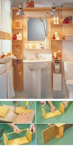 22 Genius Apartment Storage Organization Ideas You Must Try, – Diy Bathroom İdeas Space Saving Bathroom, Small Bathroom Storage, Diy Bathroom Decor, Bathroom Furniture, Diy Furniture, Diy Home Decor, Bathroom Ideas, Bathroom Organization, Organization Ideas