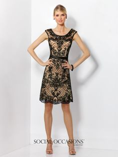 Social Occasions by Mon Cheri - 116851 - Cap sleeve tulle knee-length A-line dress in Black/Champagne or Heather