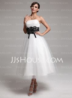 Wedding Dresses - $84.49 - A-Line/Princess Strapless Ankle-Length Satin Tulle Wedding Dresses With Lace Sashes (002011609) http://jjshouse.com/A-line-Princess-Strapless-Ankle-length-Satin-Tulle-Wedding-Dresses-With-Lace-Sashes-002011609-g11609