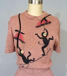 Late 1930's Mimi Pearce Knit Dress with Monkeys
