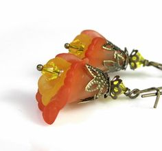 #Orange Tequila Sunrise Vintage Style Earrings by #jewelry by NaLa ... http://www.etsy.com/listing/88256090/flower-earrings-orange-tequila-sunrise