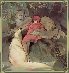 I just really like this picture. Little Red making friends with the wolves.