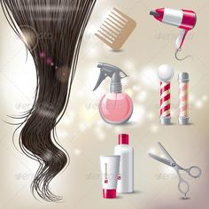 Hair care icons vector image on VectorStock Curling, Blow Dry, Hair Dryer, Icon Set, Hairdresser, Retro, The Balm, Hair Care, Shampoo