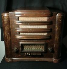 Silvertone Model 7039 Short Wave AM Tube Radio 1940's VTG Antique Wooden Chassis