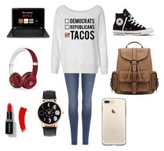 """first day of school"" by maddisonbeecherk ❤ liked on Polyvore featuring beauty, 7 For All Mankind, Converse and Beats by Dr. Dre"