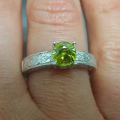 Natural Titanite Sphene canary yellow 6x6mm 925 Silver by EVGAD, £39.99