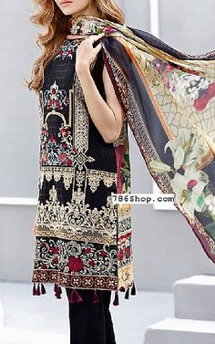 Black Lawn Suit | Buy Baroque Eid Collection Pakistani Dresses and Clothing online in USA, UK