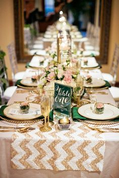 Emerald, Blush, and Gold Wedding Decor. This would look great if you are thinking about using an 8 foot banquet table instead of round tables! Glitter Wedding, Mod Wedding, Dream Wedding, Gold Glitter, Sequin Wedding, Elegant Wedding, Glamorous Wedding, Wedding Menu, Trendy Wedding