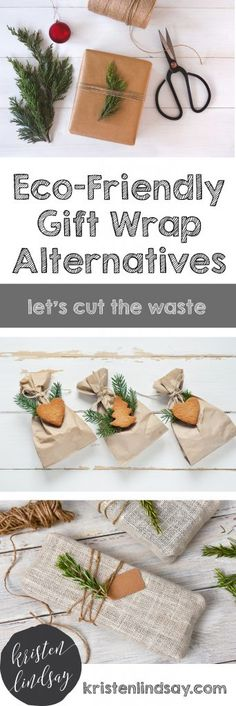 6 Eco-Friendly Gift Wrap Alternatives  From Thanksgiving to New Year's Day, household waste increases by more than 25%. Added food waste, shopping bags, packaging, wrapping paper, bows and ribbons all add up to an additional 1 million tons a week to our landfills. Here are 6 great alternatives to traditional gift wrap. xo