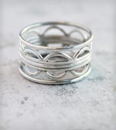 Hammered Silver Stacking Rings - Set of 5