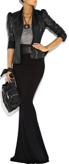 Long dressy skirt with an edgy black leather jacket