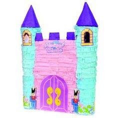 Princess Castle Pinata Party Game by Aztec Imports. $15.50. May be filled with 3lbs of candy(not included). Fun party game. This pinata measures 21 x 15 x 4 quot;. The perfect castle for your little princess! Princess Castle Pinata is pink and light blue and features a large lavender door, 2 guards, and two towers with a princess watching out one of them. This premium pinata is used at parties for up to 10 kids. To fill pinata, gently press on round sticker that rea...