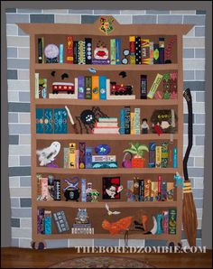 Harry Potter BookCase Quilt ProjectofDoom by The Bored Zombie Harry Potter Quilt, Harry Potter Nursery, Harry Potter Theme, Harry Potter Diy, Quilting Projects, Quilting Designs, Sewing Projects, Quilting Ideas, Panel Quilts