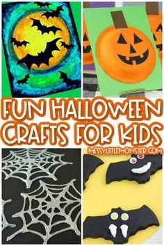 Halloween crafts Scary Halloween Crafts, Halloween Crafts For Kids To Make, Halloween Craft Activities, Fun Halloween Games, Halloween Art Projects, Halloween Decorations For Kids, Halloween Kids, Preschool Activities, Kids Crafts
