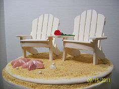 Gumpaste adirondack chair tutorial...this would be a cute cake with other be achy stuff!