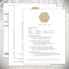 Photography Forms - 5 Essential Contracts and Order Form Templates - Gala Studio Collection