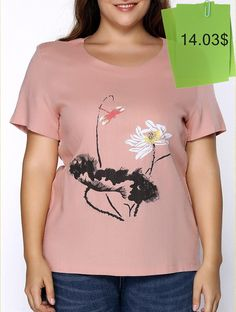 Chic Round Neck Short Sleeve Plus Size Floral Print T-Shirt For Women