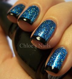 I never thought of using my Alice in Wonderland perfect blue glitter polish as a base for a French mani.  Super smart!