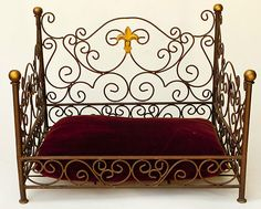 Wrought Iron Pet Bed Sofa Vintage French Country Cat Dog