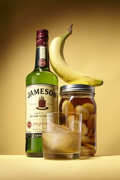 Place bananas and Jameson into a sealed container for three to four days. Strain out banana slices using a mesh strainer and discard. The infusion should be slightly viscous and cloudy—this gives the drink its unique texture, body and flavor. Pour infused Jameson back into container or bottle. Serve in a rocks glass with a single cube.