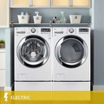 LG Ultra-Large Capacity Steam™ | 4.3CuFt Washer | 7.4CuFt ELECTRIC Dryer with NFC Tag On | Pedestals in White | WM3370HWA | DLEX3370W | WDP4W