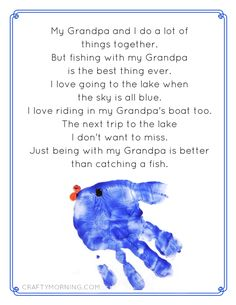 Fishing with Grandpa/Daddy Free Printable Poems from kids! Love the handprint fish - Crafty Morning