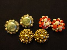 VINTAGE Earrings 1960s Clip  3 Pair by CountryCoveCreations, $8.95