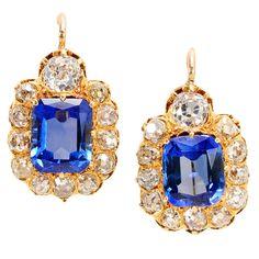 circa 1890 3.88 carats Sapphire Diamond Earrings