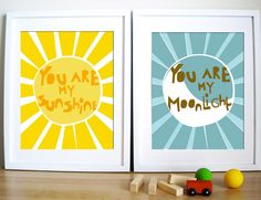 Modern Nursery Wall Art - love the You Are My Sunshine // Moonlight prints from @urbantickle