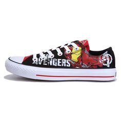 15018aace752 Converse Iron Man Printed The Avengers Comics Black Red Low Tops Shoes  found on Polyvore Nike