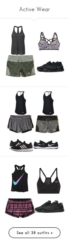 """""""Active Wear"""" by that-girl-j ❤ liked on Polyvore featuring Hollister Co., MANGO, L.A. Gear, NIKE, adidas, New Balance, American Eagle Outfitters, F.A.M.T., Abercrombie & Fitch and Victoria's Secret"""