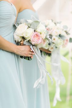 #Wedding #bouquets in #softpink, #white and #dustyblue. #bridesmaids #ribbons #beautiful #delicate #whimsical #love
