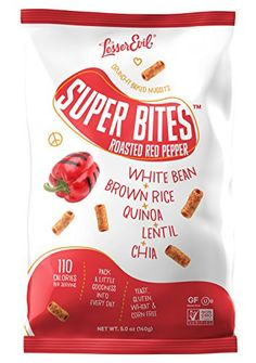 LesserEvil Super Bites, Healthy Snack Baked With an All Natural Combination of White Beans, Quinoa, Lentils, Chia Seeds and Roasted Red Pepper (Roasted Red Pepper, 5 oz, Pack of 12) -- You can get additional details at the image link.