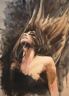 "Allison Rathan; Watercolor 2013 Painting ""Raven"""