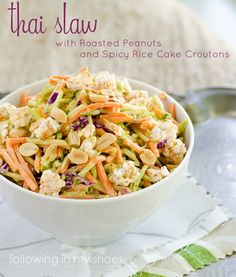 Thai Slaw with Roasted Peanuts and Spicy Rice Cake Croutons - made ...