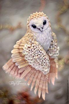 Броши ручной работы. Ярмарка Мастеров - ручная работа миниатюрная брошь - сова Сипуха.. Handmade.