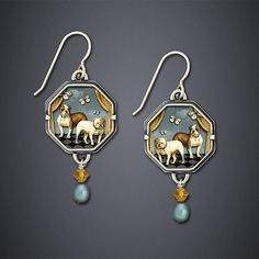 Bulldog Earrings by Dawn Estrin: Silver Earrings available at www.artfulhome.com