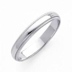 14K White Gold 3mm Plain Milgrain Wedding Band Ring for Men Women (Size 4 to 12) - Size 12, (diamond band, diamond ring, wedding ring, anniversary ring, channel band, rings), via mens wedding rings