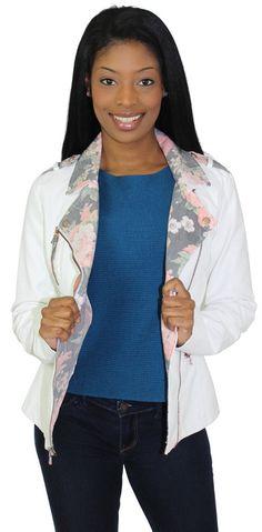 Jessica Simpson Women's Vegan Leather Floral Jacket Coat