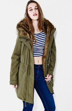 Topshop 'Martha Foxy' Faux Fur Trim Hooded Parka available at #Nordstrom