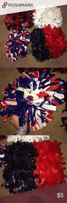 Pom poms for sale I have 4 pom poms available! I also have other cheer listings in my closet!! If you buy more than one I will add a discount! Flat because they've been in storage! Varsity Other